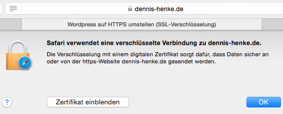 Dennis-Henke.de with HTTPS in Safari