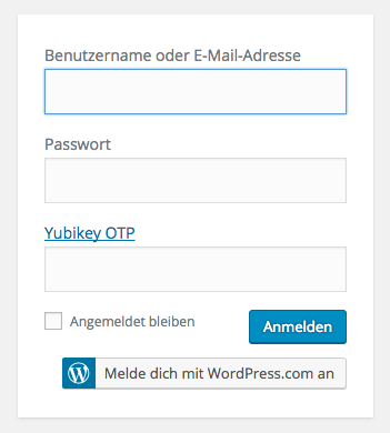 WordPress Login mit Yubikey