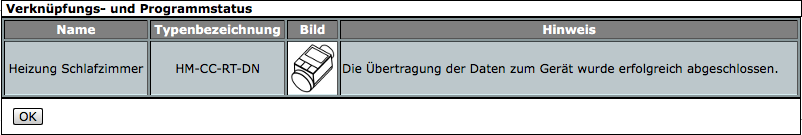 Bestätigung der Übertragung an Gerät
