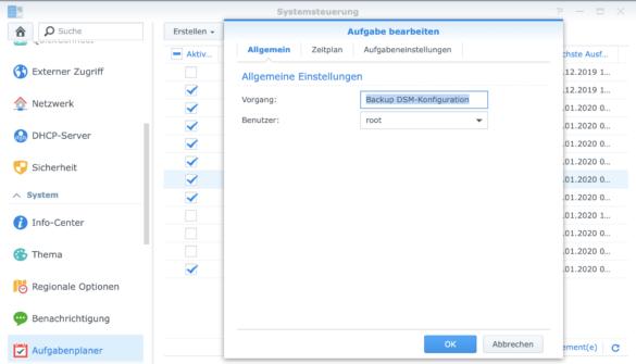 Task im Aufgabenplaner von Synology DSM erstellen