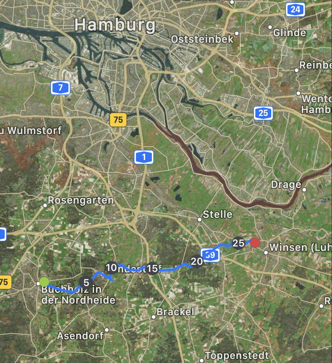 Laufstrecke Buchholz - Winsen